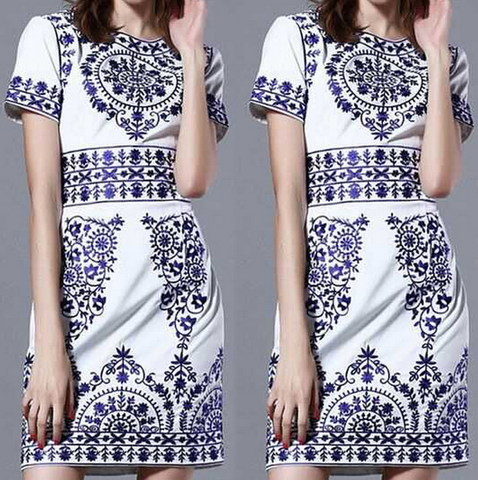 Retro Round Neck Printed Short-Sleeved Princess Dress