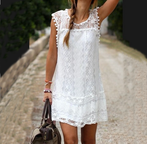Casual Round Neck White Lace Dress