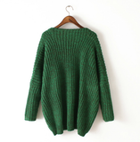 Leisure Bat Sleeve V-Neck Knit Sweater