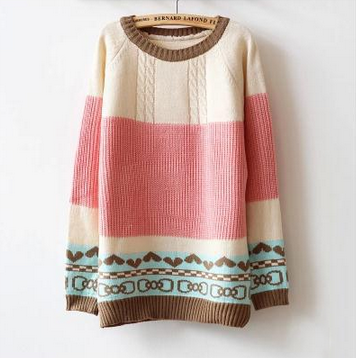 Loose Striped Long-Sleeved Round Neck Knit Sweater