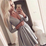 Pretty V-Neck Long-Sleeved Dress