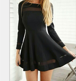 Slim Round Neck Long-Sleeved Black Dress