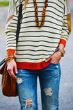 Loose Long Bat Sleeved Spell Color Patch Stripe Knit A Sweater