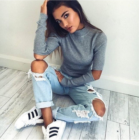 Grey High Neck Cut-Out Long Sleeve Knit Top