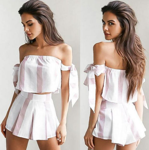 Strapless bowknot sexy stripe two-piece with fashion