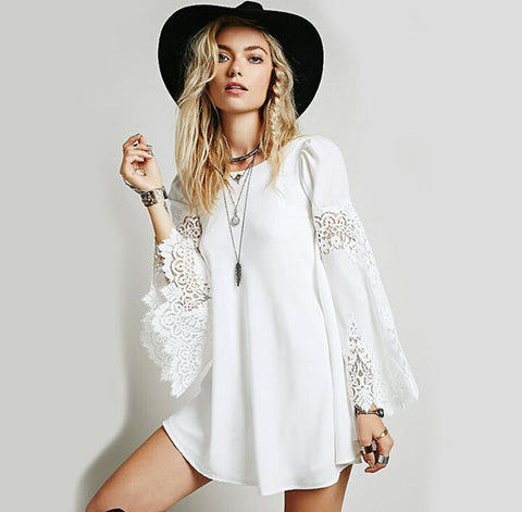 Women Chiffon Stitching Lace Long Sleeves Dress