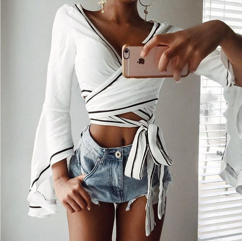 Sexy Deep V-Neck Crisscross Long Sleeve Shirt