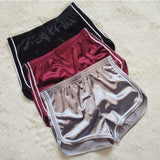 Simple Casual Loose Shiny Silk Satin Retro High Waist Sport Yoga Shorts Wine Red