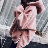 Fashion Long Sleeve Hooded Thick Medium-long Side Zipper Sweater