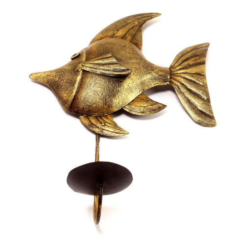 Candle Stand Metal Fish- Powder Coated Wall Hanging