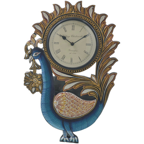 Peacock Wall clock hand painted