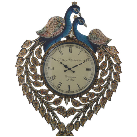 Peacock Wall clock colorful