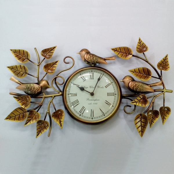 'ELEGANCE' Wall clock  Cute Sparrow & Leaves