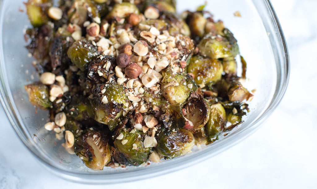 vegan maple roasted brussels sprouts