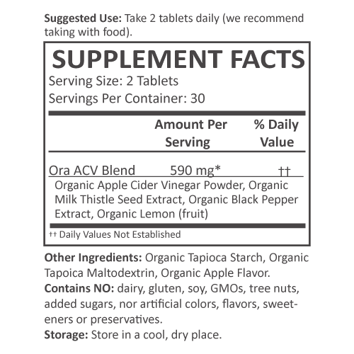 Organic Apple Cider Vinegar Pills - Apple Cider Vinegar Supplement Facts supplement-facts unflavored_30