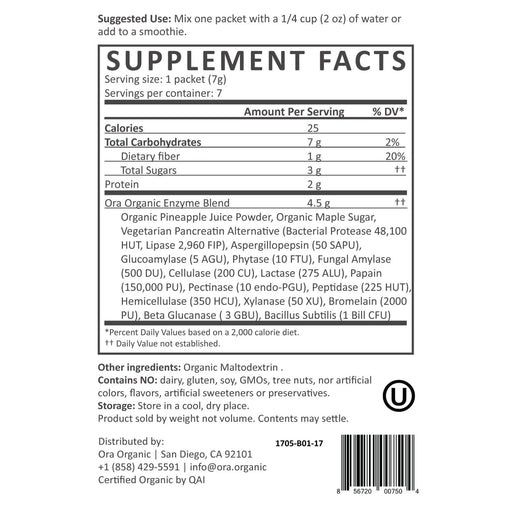 Plant-Based Digestive Enzymes Powder - Digestive Enzymes Nutrition Facts supplement-facts unflavored_7