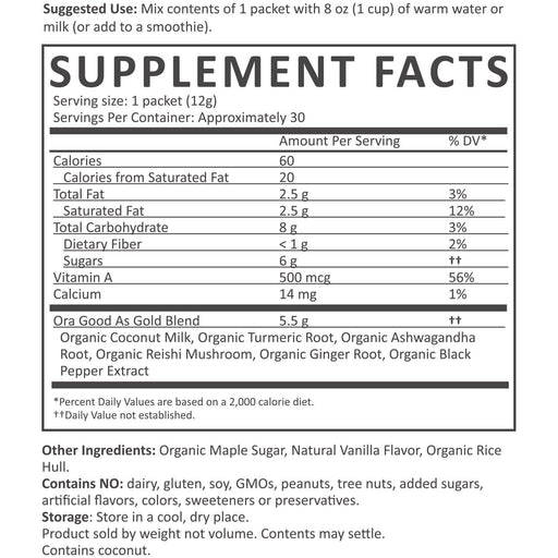 Organic Turmeric Golden Milk Powder - Turmeric Powder Nutrition Facts supplement-facts turmeric_7