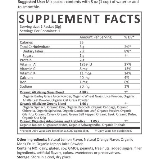 Organic Green Superfood Powder - Greens Powder Nutrition Facts supplement-facts citrus_1