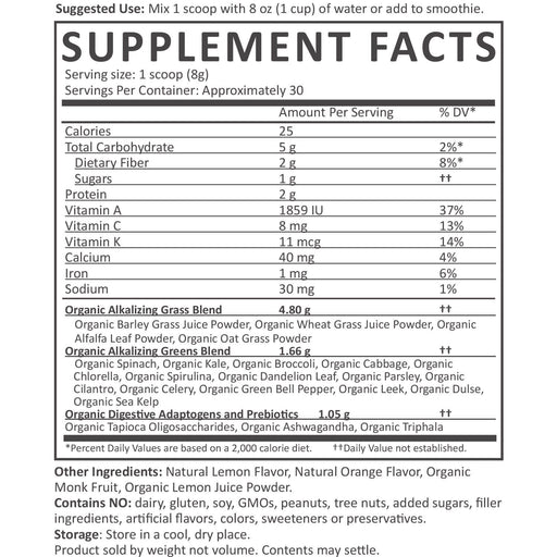 Organic Green Superfood Powder - Organic Greens Nutrition Facts supplement-facts citrus_30