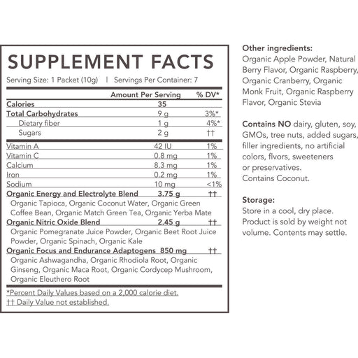 Organic Pre-Workout Powder - supplement-facts beet-pomegranate_7