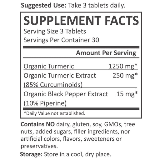Organic Turmeric Curcumin Pills - Turmeric Nutrition Facts supplement-facts unflavored_30