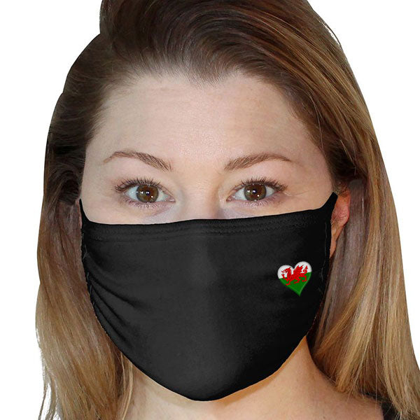 Welsh Heart Flag - Face Mask Cover (3 Ply)