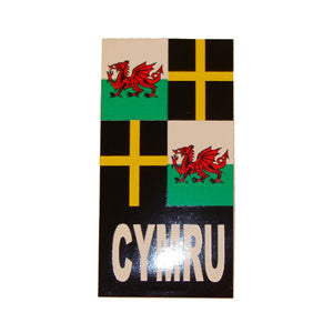 St.David & Welsh Flag Number Plate Sticker
