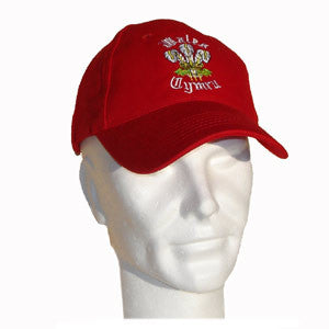 Welsh Dragon Embroidered Baseball Cap (Red)