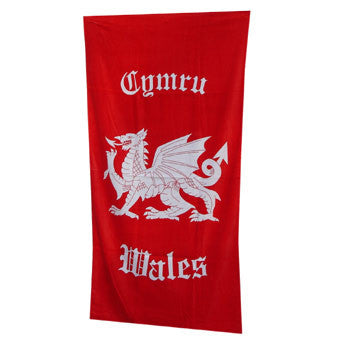 Welsh dragon beach towel RED