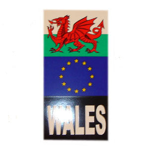 Euro & Welsh Flag Number Plate Sticker