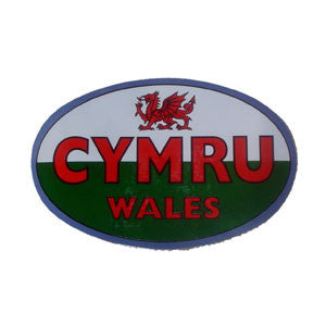 Oval (Foil effect) Welsh flag sticker