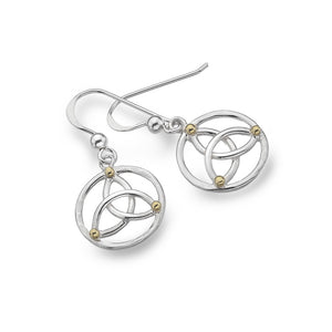 Sterling Silver Celtic Trinity Knot & Brass Balls Earrings, By Sea Gems (4218)