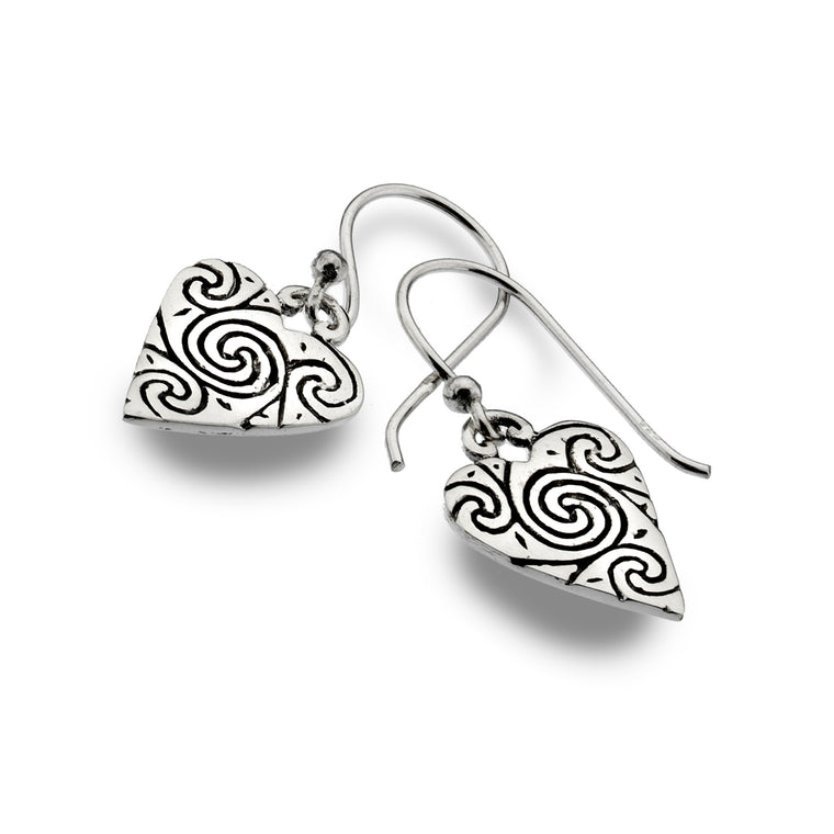 Sterling Silver Celtic Heart & Spirals Earrings OXID - By Sea Gems (4220)
