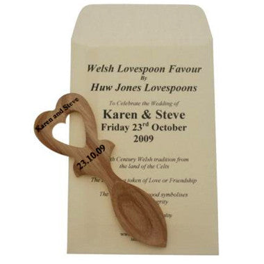 20 Engraved Lovespoons & Personalised Envelope (HL5)