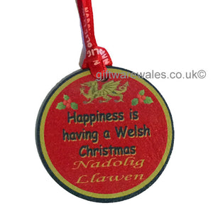 Welsh Christmas - Nadolig Llawen Slate Decoration