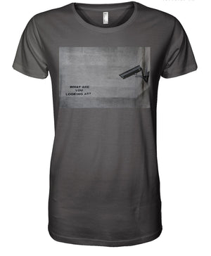 BANKSY - CCTV WHAT YOU LOOKING AT - TEE CHARCOAL