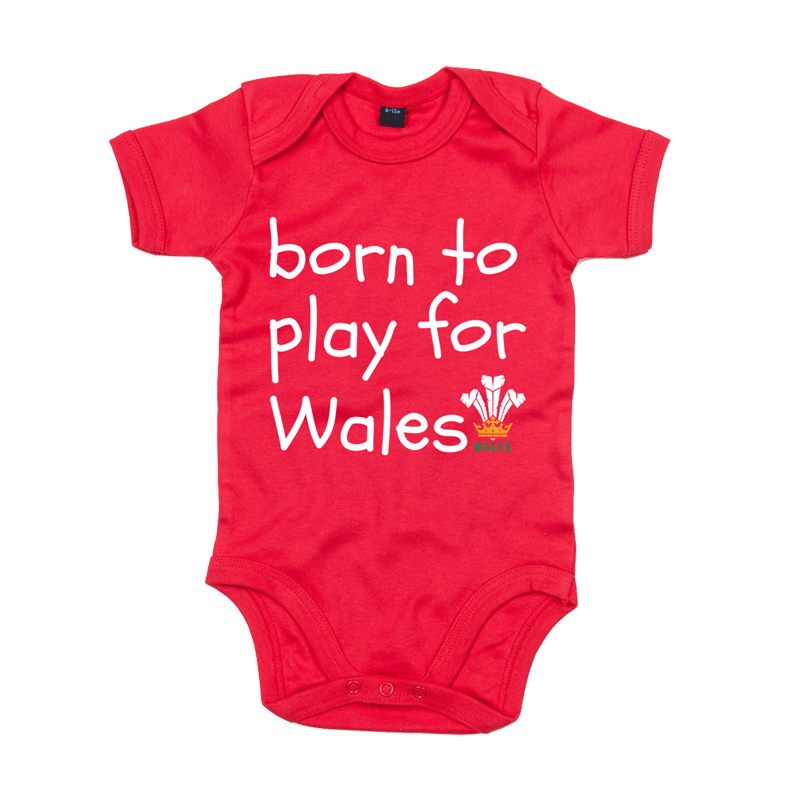 Born to Play for Wales New Personalised Baby Bib for Boys /& Girls