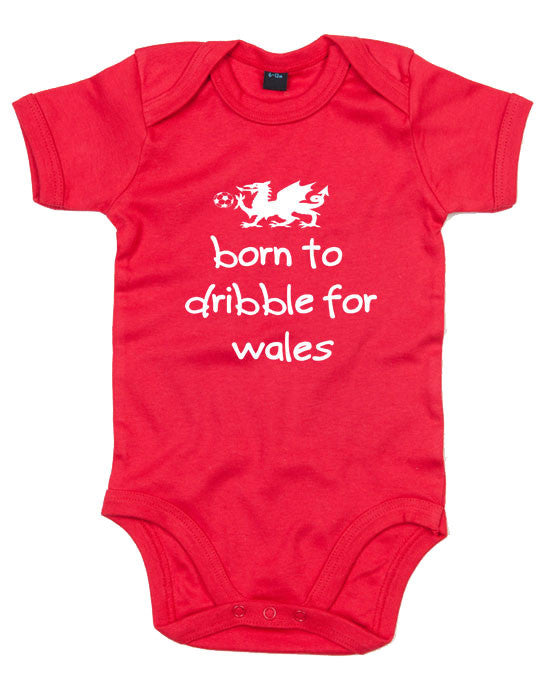 Wales Football Baby Grow - Born to dribble for Wales