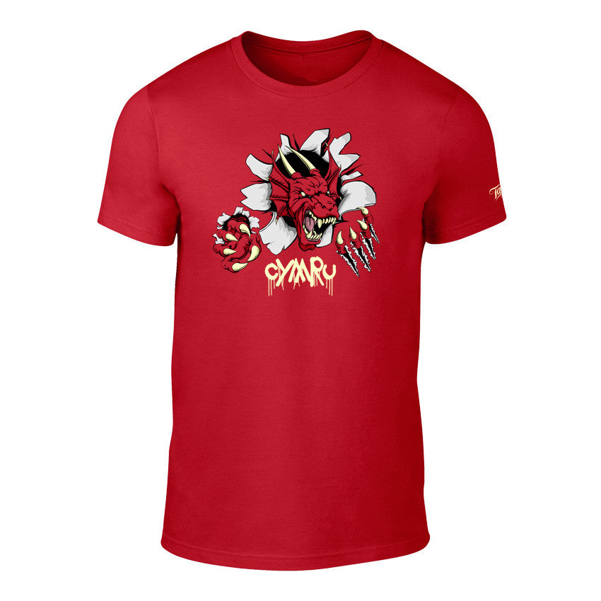 Childrens Welsh Dragon Breakthrough T-Shirt - Red