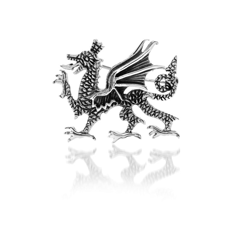 Welsh Dragon Silver Brooch by Sea Gems® (6548)