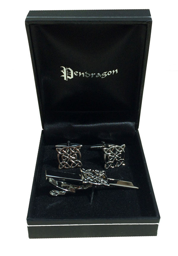 Celtic knot tie slider and cufflink set
