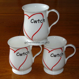 Welsh Mug - Cwtch and Heart - Bone China (Flute Single)