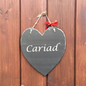 Cariad - Welsh Slate Hanging Plaque (Love)
