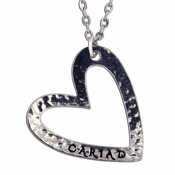 Cariad heart pendant - Pewter (PN914)