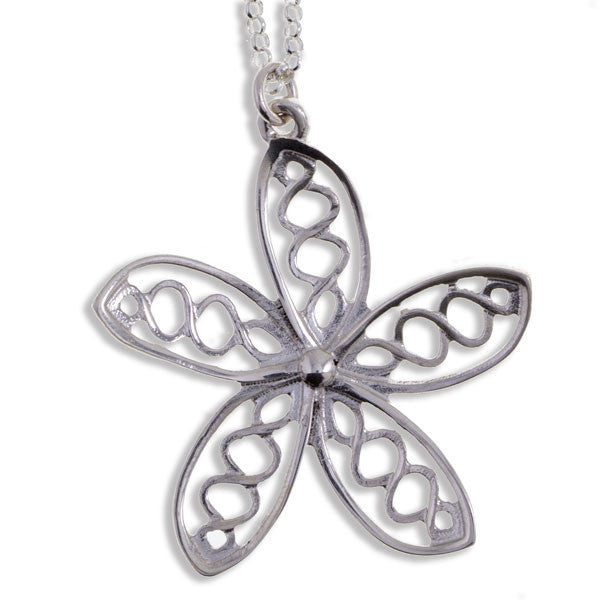 Celtic knot flower pendant silver by St Justin