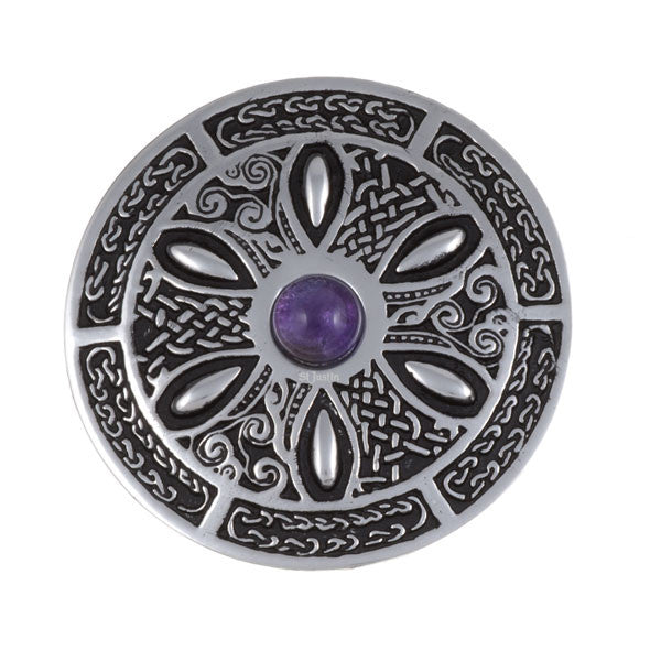 Celtic wheel gemstone brooch by St. Justin (PB55P)