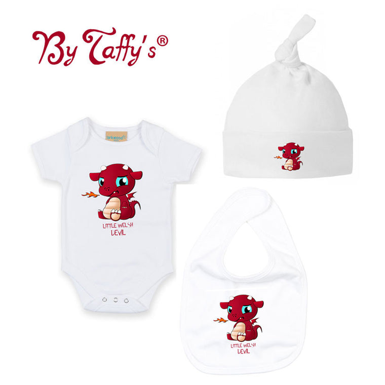 Little Welsh Devil - Hat  Bib & Babygrow Set