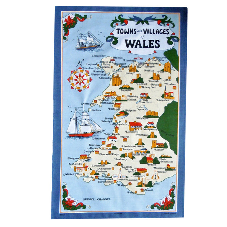 Towns & Villages of Wales Tea Towel