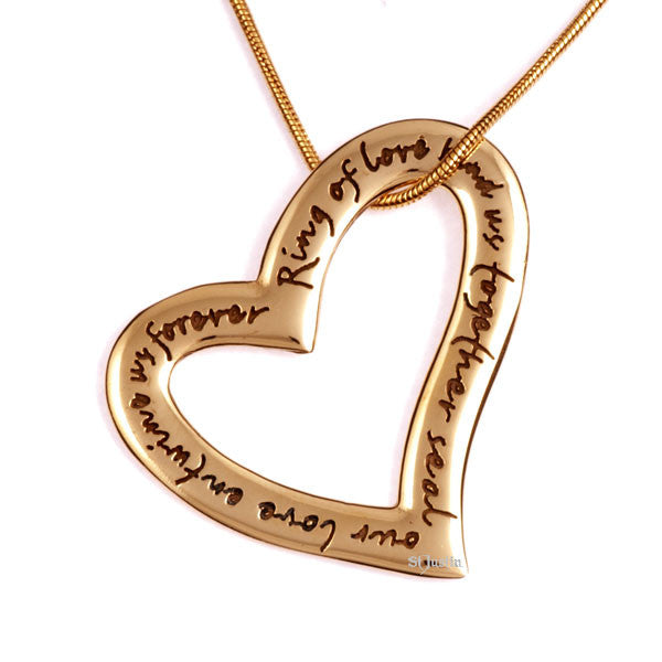English heart love pendant bronze