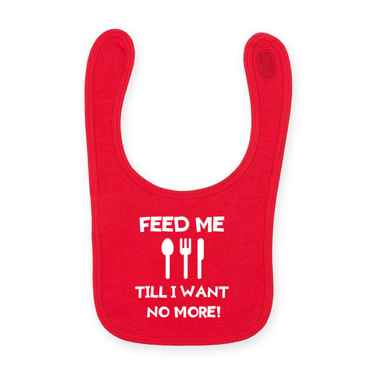 Feed Me Till I Want No More - Welsh Baby Bib RED